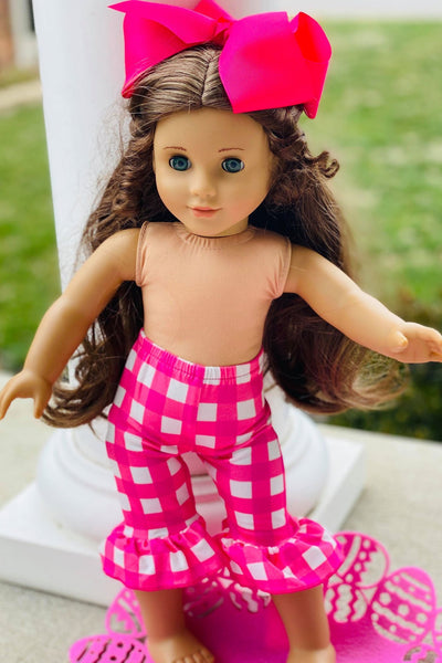 PINK GINGHAM DOLL CAPRIS