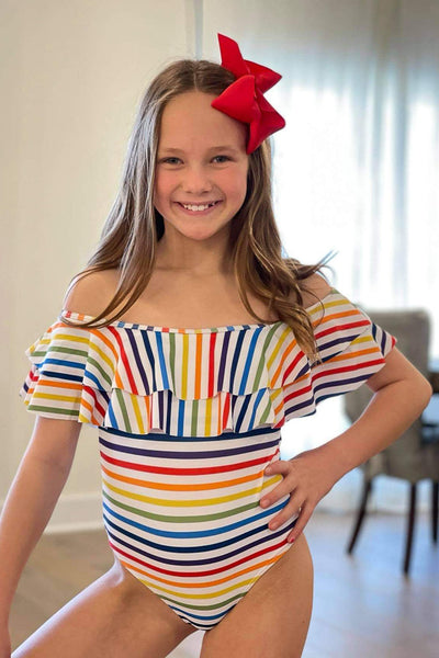 Rainbow Stripe Flutter Top One Piece Swimsuit