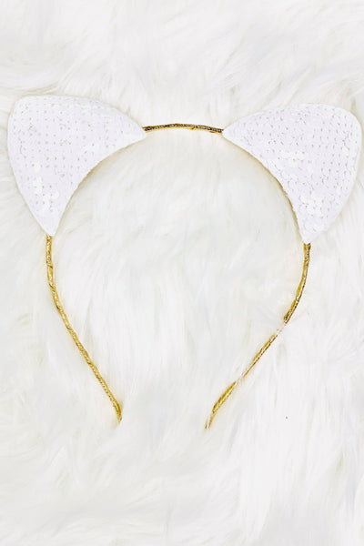 Pearly White Animal Ears Headband