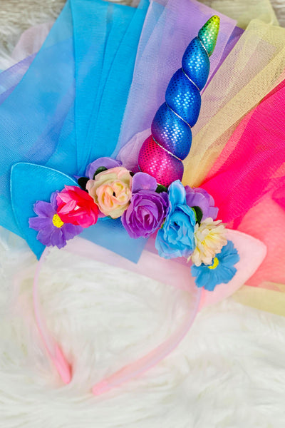 Rainbow Unicorn Train Headband
