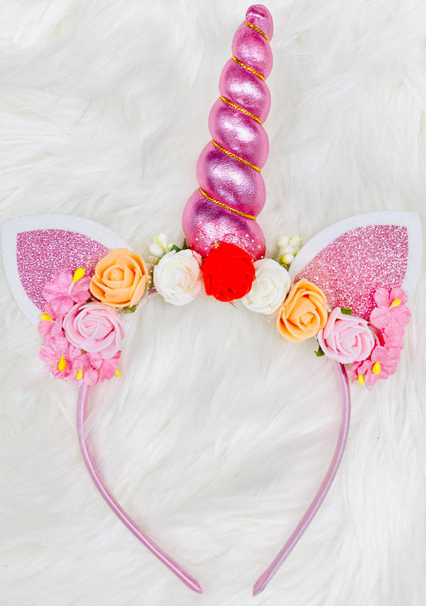 Glitzy Pink Unicorn Animal Ears Headband