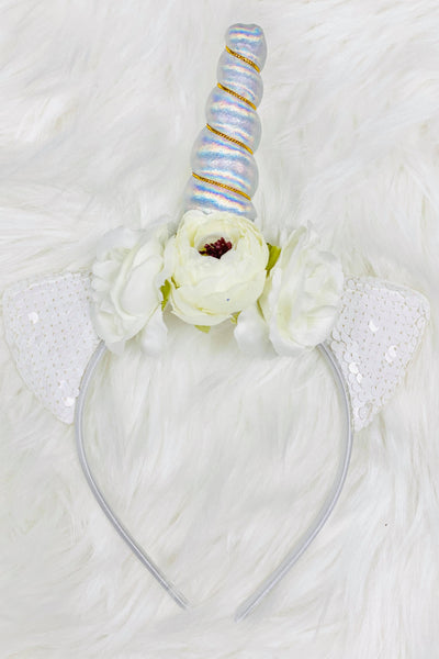 Iridescent & White Unicorn Animal Ears Headband