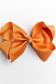 BROWN ORANGE BOW WITH CLIP