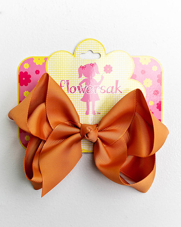 RUST ORANGE BOW WITH CLIP