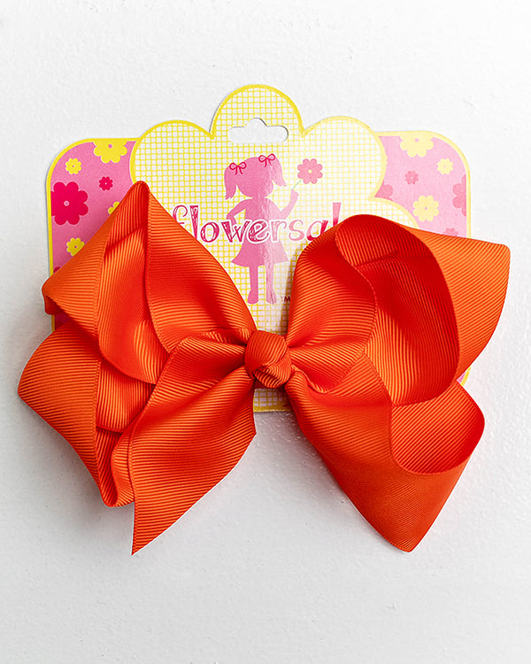 red orange bow with clip