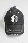 Black/White Distressed Trucker Hat