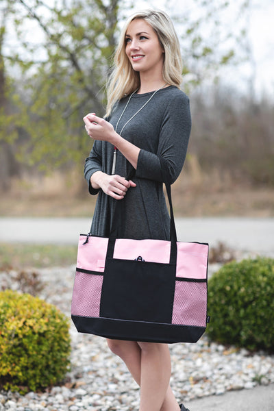 Light Pink Zipper Tote with Mesh Pockets