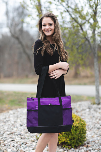 Purple Zipper Tote with Mesh Pockets
