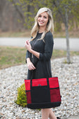 Red Zipper Tote with Mesh Pockets