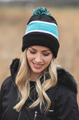 Black/Light Blue Beanie