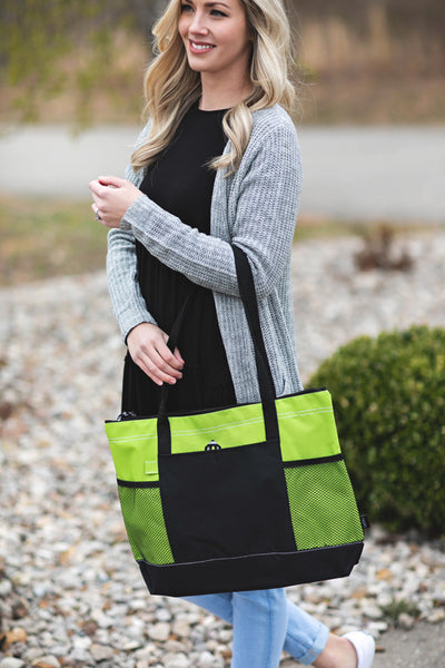 Lime Zipper Tote with Mesh Pockets