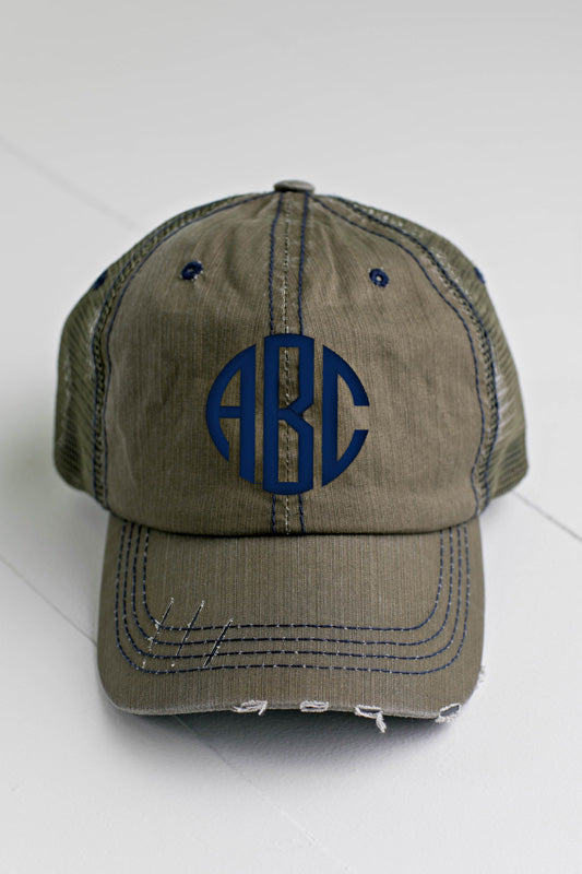 06597eb5c7d Olive Green Distressed Trucker Hat – Personalize Me