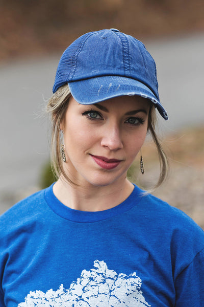 Royal Blue Distressed Trucker Hat
