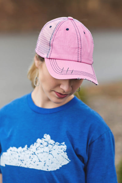 Pink Distressed Trucker Hat