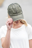 Olive Green Distressed Trucker Hat