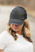 Black with Blue Distressed Trucker Hat