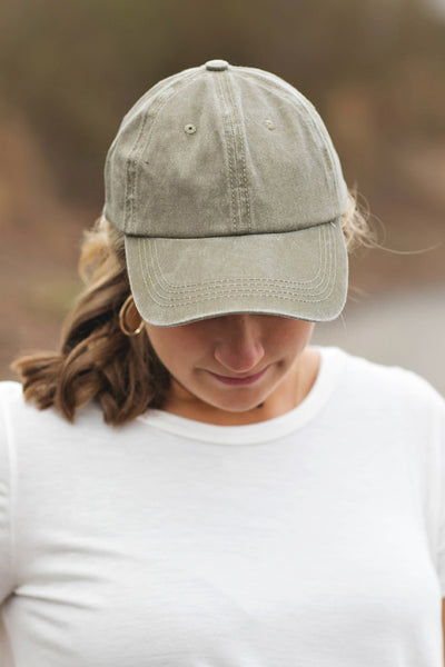 Light Olive Washed Baseball Cap