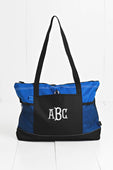 Blue Zipper Tote with Mesh Pockets