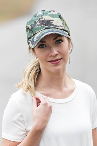 Green Camo Distressed Trucker Hat