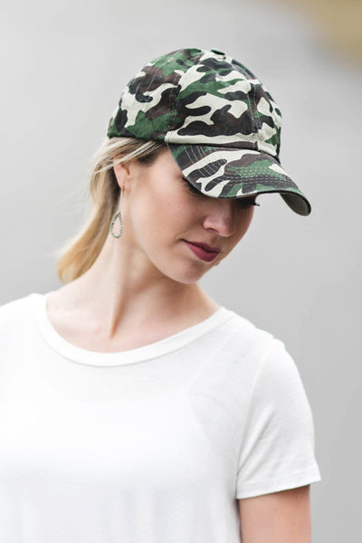 Green Camo Distressed Baseball Cap