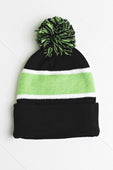Black/Apple Green Beanie