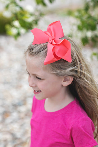 Coral Rose Hair Bow