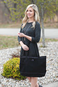 Black Zipper Tote with Mesh Pockets