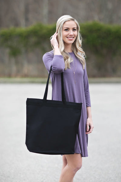 Black Zipper Tote