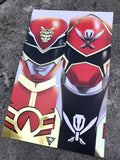"GoseiRed/Gokai Red Split Premium Gold Foil Poster - 11"" x 17"""