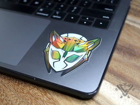 "KR01-RC Kamen Rider Valkyrie Rushing Cheetah (Head) - 3""x 3"" Holofoil Vinyl Sticker"