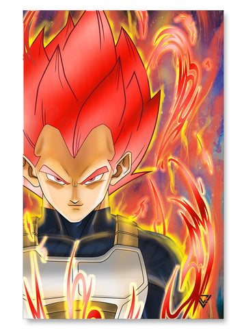 "Vegeta Super Saiyan God Premium Red Foil Poster - 11"" x 17"""