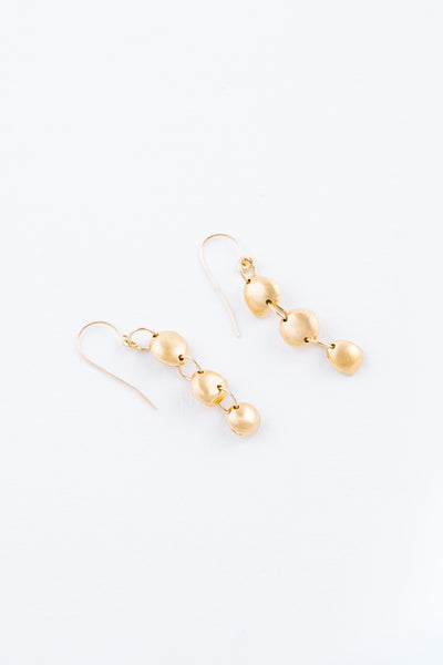 Gold Three Tier Rock Earrings