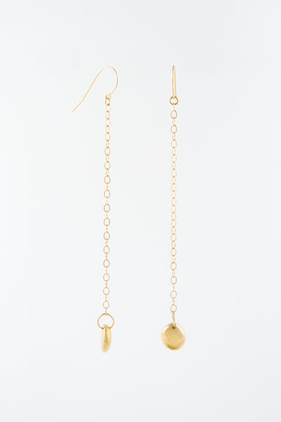 Gold Rock Chain Earrings