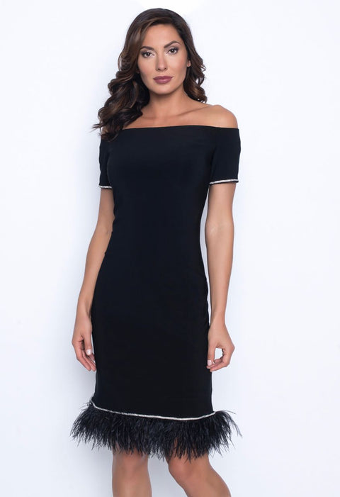 Frank Lyman LBD with Feather and Diamante Trim