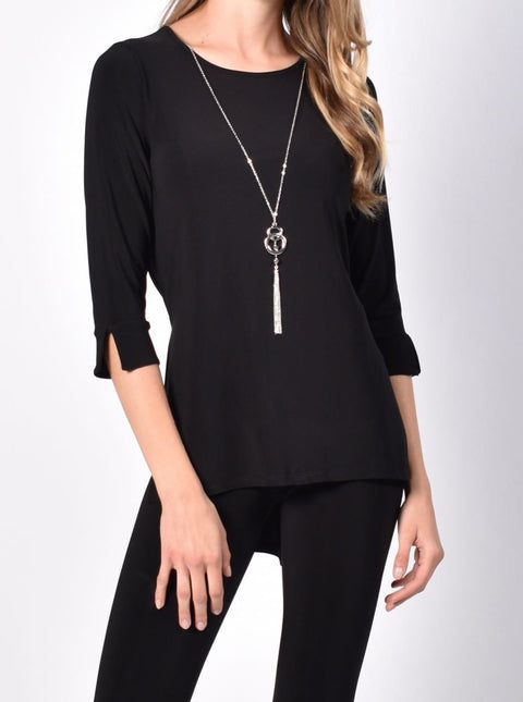 Frank Lyman Black Top with Long Necklace