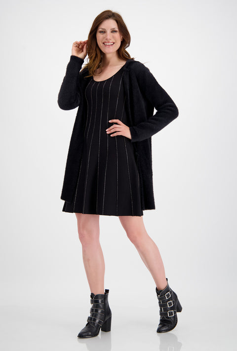 Monari Waisted Knit Dress with Rhinestone Decoration