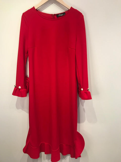 Peruzzi Red Dress with Frill and Pearl Trim