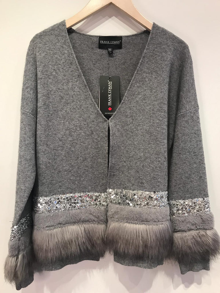 Frank Lyman Grey Cardi/Jacket with Fur Trim