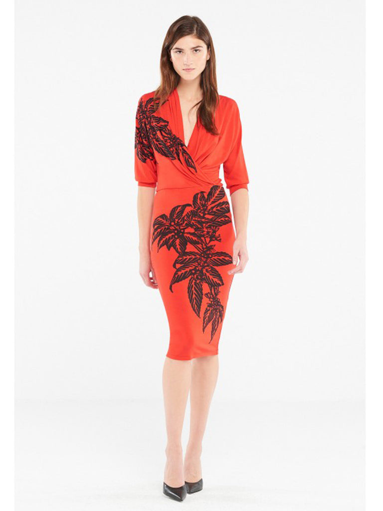 Red Stretch Knit Dress With Coffee Plant Print