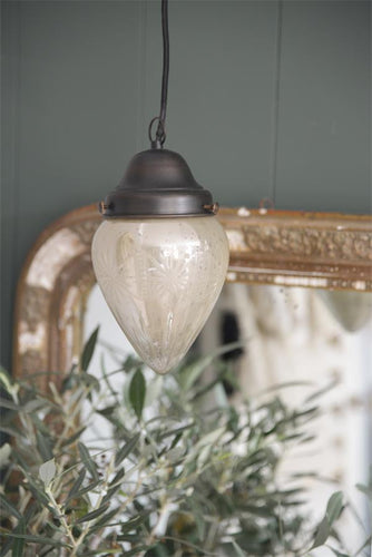 Antique finish glass cone pendant light