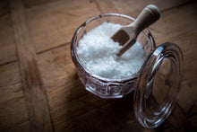 Salt pot with wooden scoop