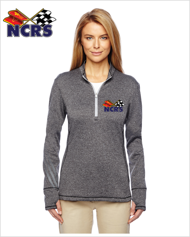 NCRS Ladies Adidas Golf Ladies' Heather 3-Stripes Quarter-Zip Layering Jacket