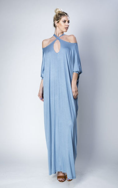 Sophistication Love Criss Cross Cold Shoulder Maxi Dress