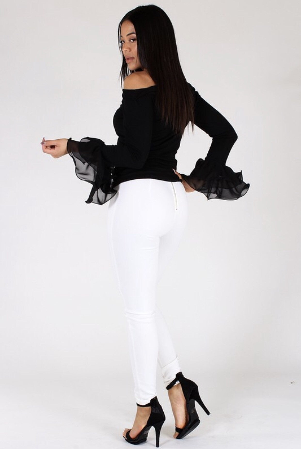 Sophistication Black Top with Ruffle Sleeves