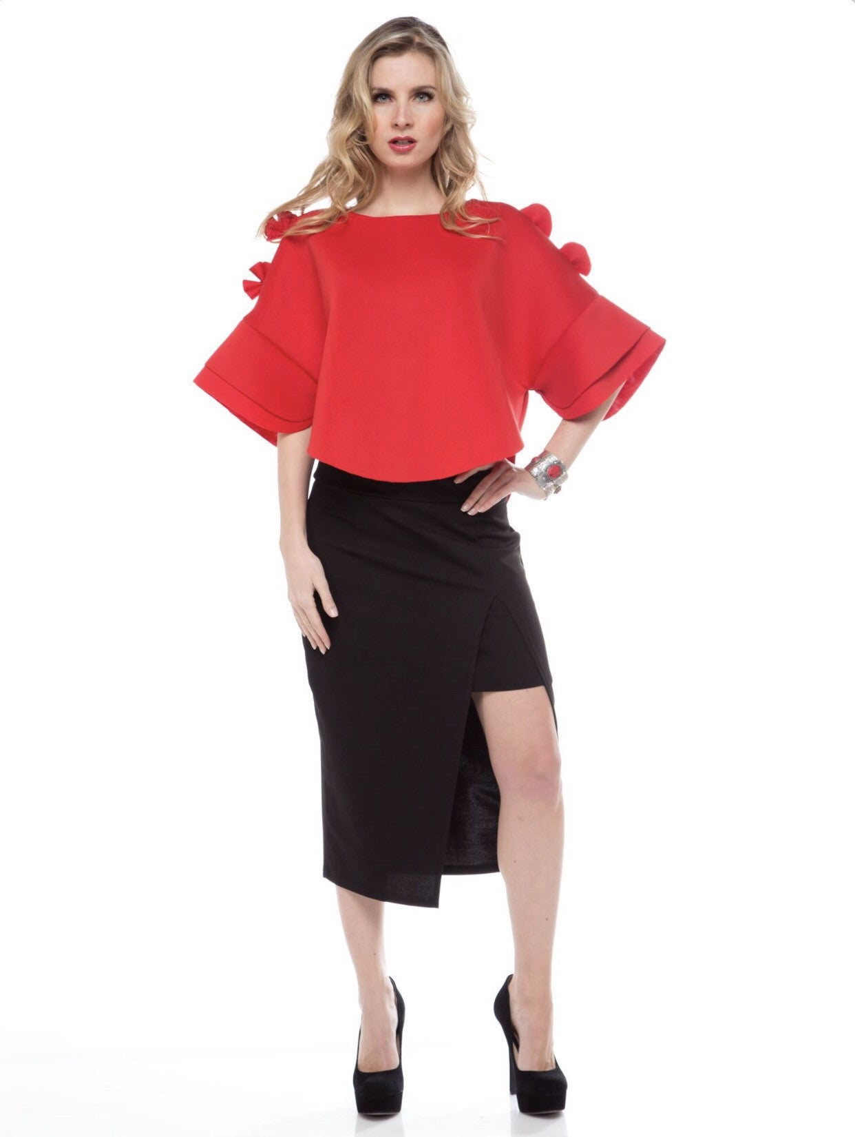 Sophisticated Red Rose Top