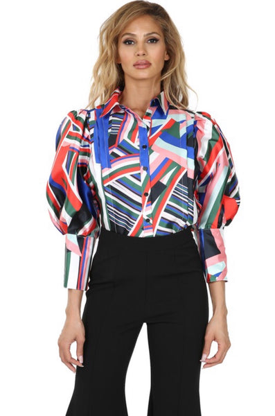 Multi Colored Puff Sleeve Top