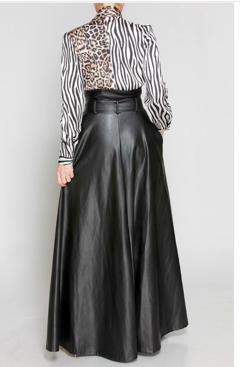 Snatched Long Leather Skirt