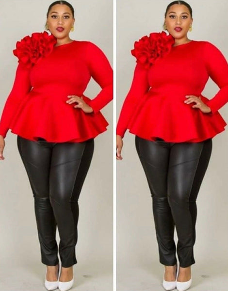 Red Flower Peplum Top