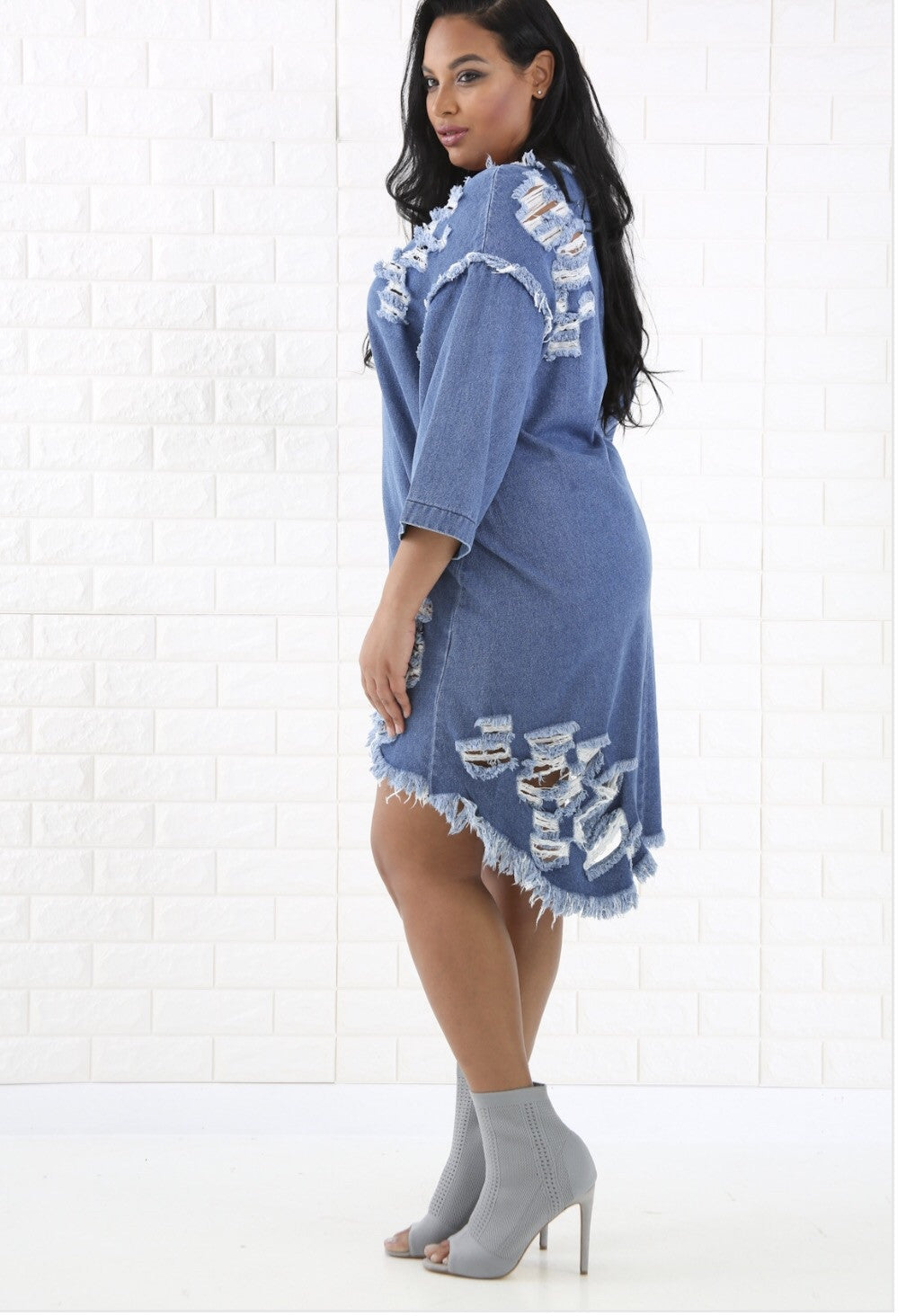 Shredded Denim Dress