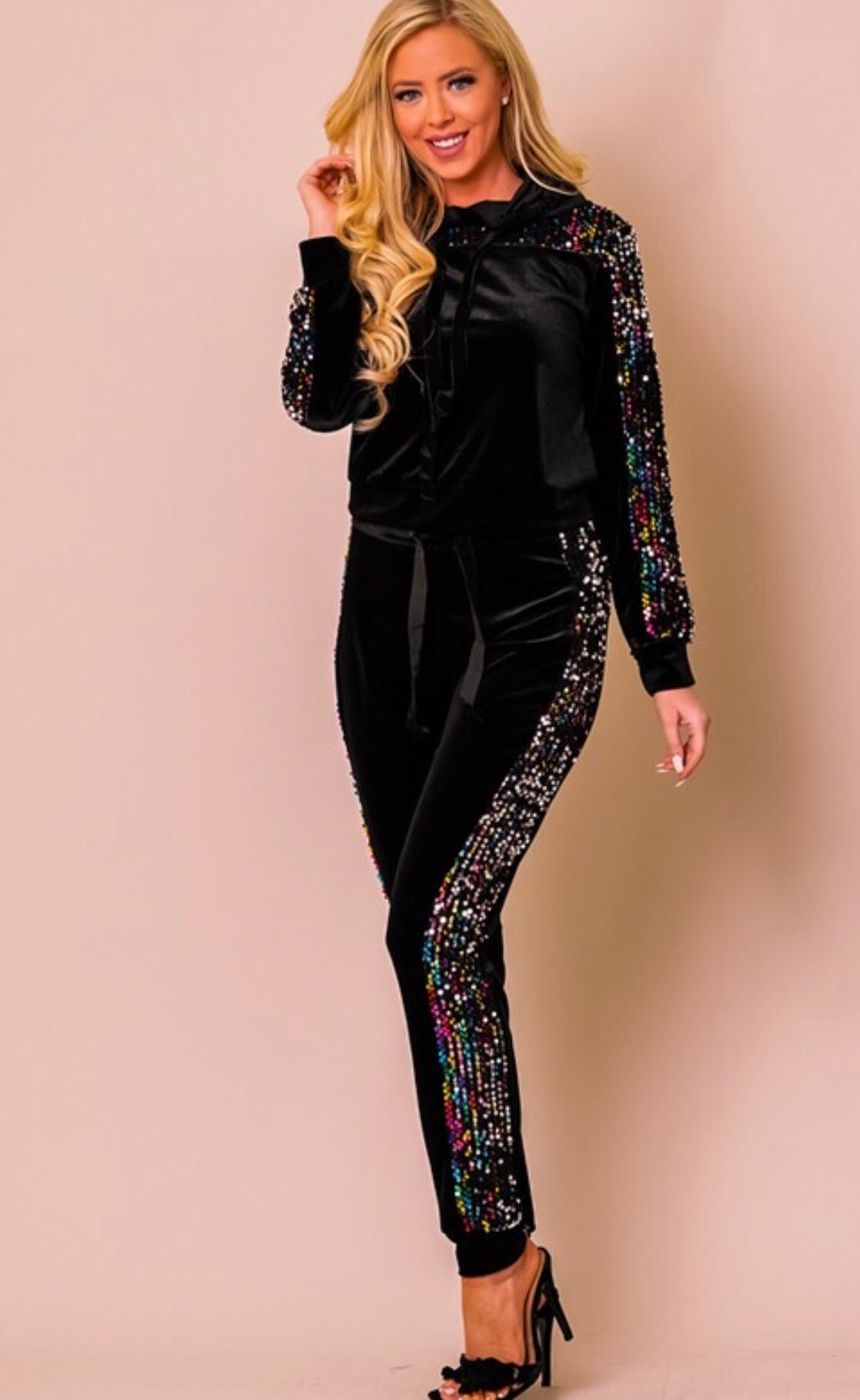 Velvet Sequin Jumpsuit
